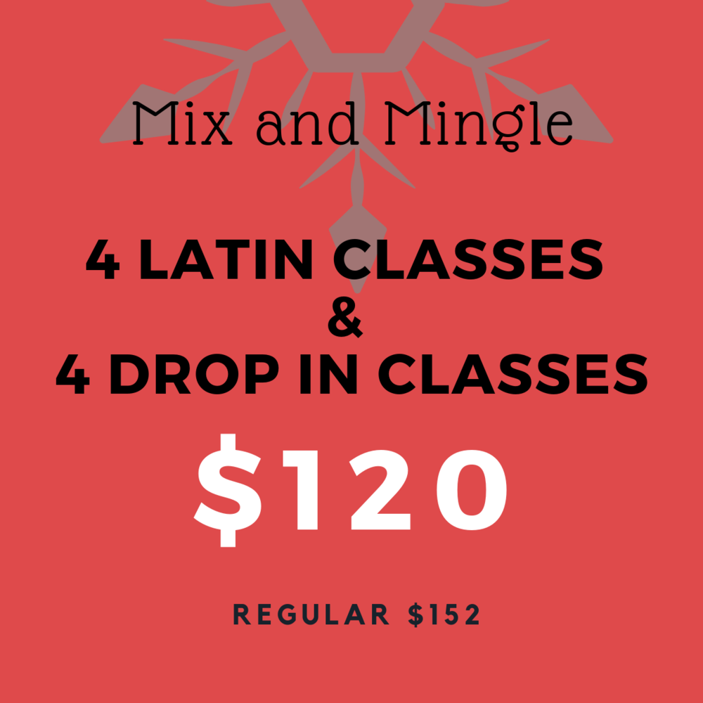 The ultimate taste tester, this pass let's you try out drop in classes and Latin classes. Pass is valid from January 1, 2019 - June 30, 2019. No extensions or refunds and not transferable. Pass valid for all Drop in classes, Salsa, Argentine Tango, Bachata as well as Intro to Salsa Course, Intro to Argentine Tango Course and Intro to Bachata Course.