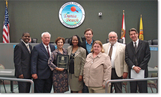 "Jeremy Earle, CRA Director, Dania Beach,  C.K. ""Mac"" McElyea, Mayor Dania Beach, Marianne Winfield, Executive Director, Smart Growth Partnership, Bobbie H. Grace, City Commissioner, Dania Beach,  Walter  Duke, City Commissioner,  Ann Castro, Vice Mayor, Dania Beach, Robert Anton, City Commissioner."