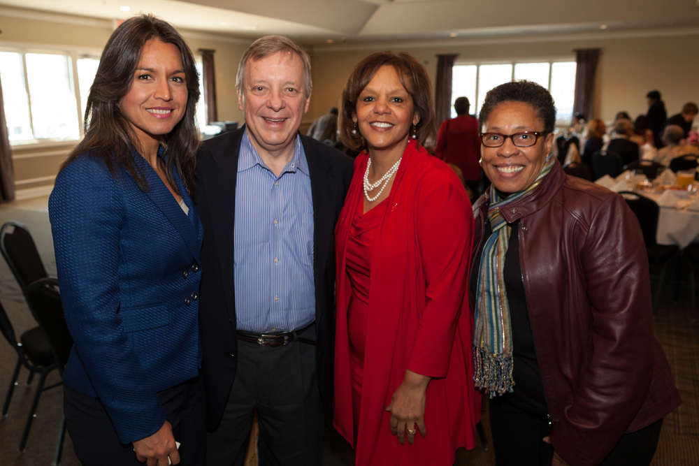 Congresswoman Tulsi Gabbard (HI-02), U.S. Senator Dick Durbin, Congresswoman Robin Kelly (IL-02), and Congresswoman Marsha (OH-11) at Congresswoman Robin Kelly's Delicate Balance event