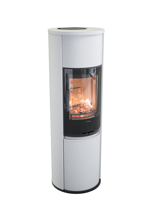 CONTURA 690 White    This tall stove takes the fire to the next level. It gives your room a majestic modern look.   3-9 kW