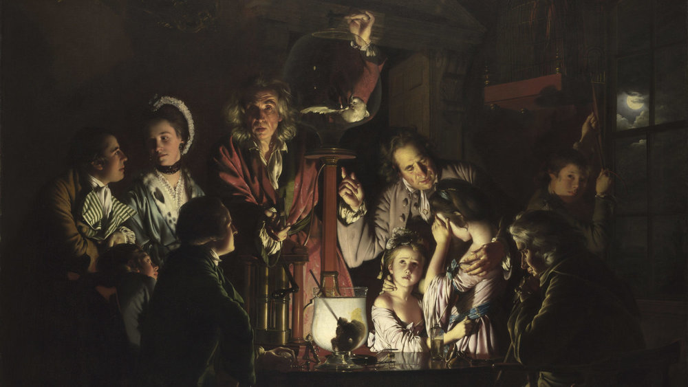 Experiment on a Bird in the Airpump by Joseph Wright