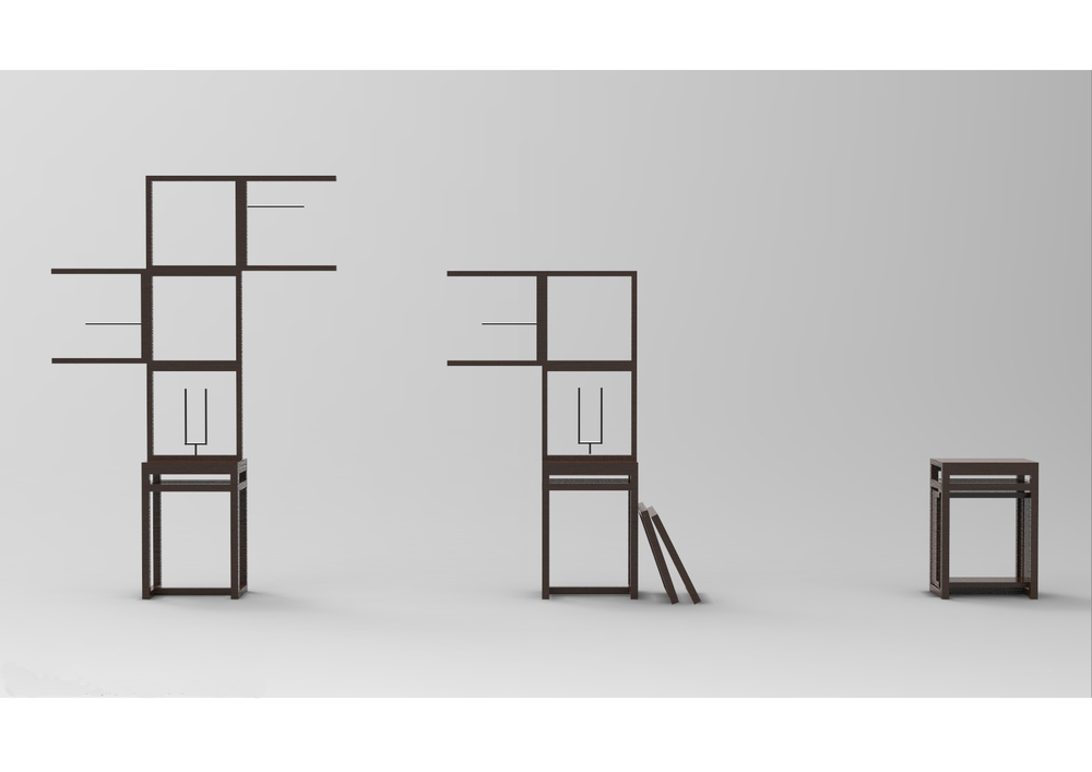 It is a flexible modular room divider. Place the individual frames and lock in with a variety of hooks to create your own screen by putting your possessions. It could also be used as a side table or a stool when it is unused and all frames fit underneath of it.     Hard wood + Steel Metal
