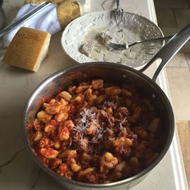 The Final Product: Homemade gnocchi with Suzie's 7-Hour Meat Sauce.