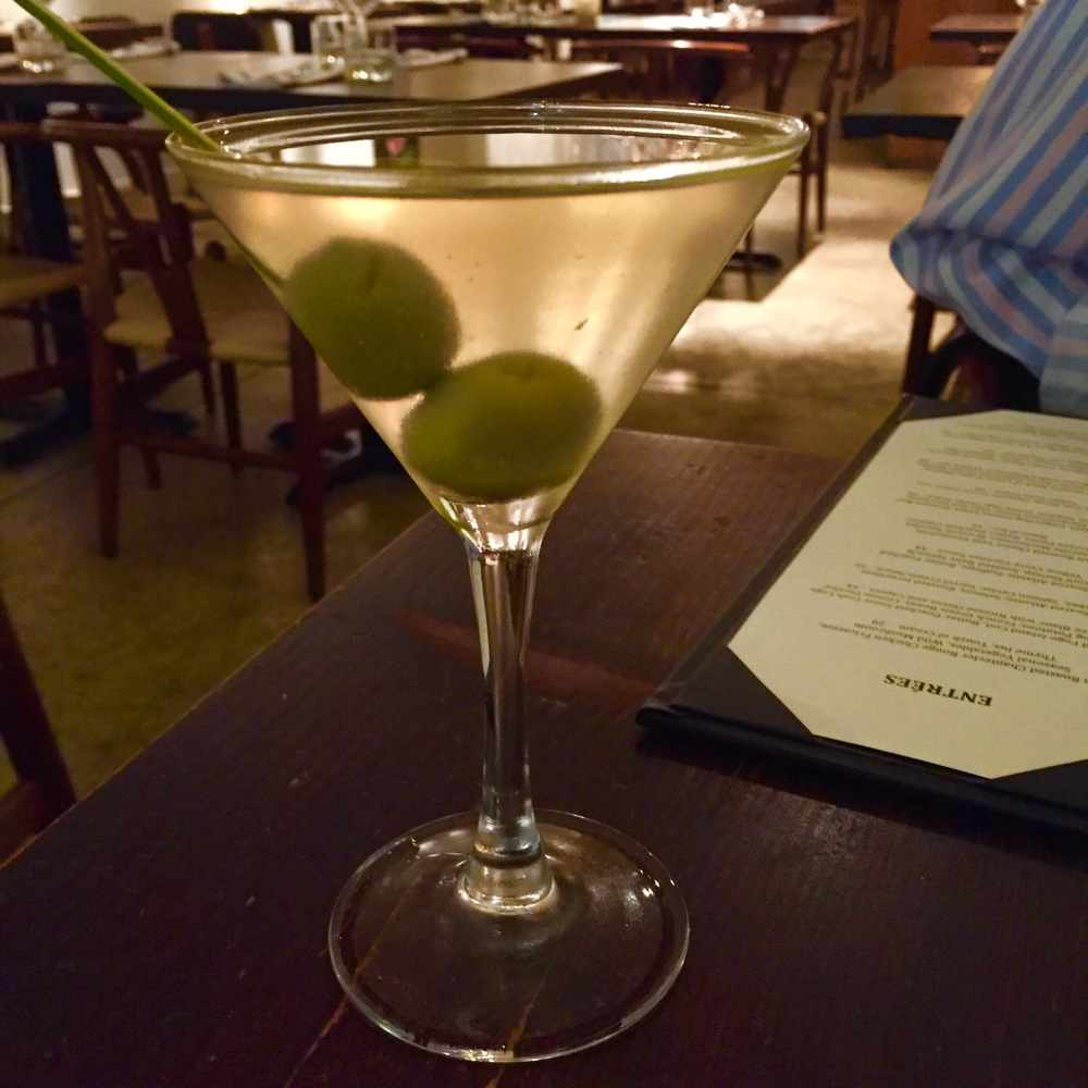 Dirty Martini with Sable and Rosenfeld Blue Cheese Olives.