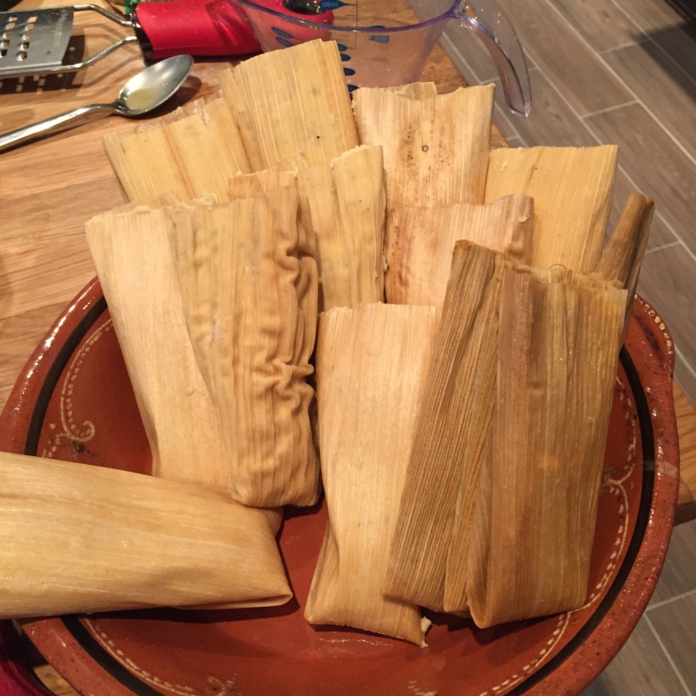 Tamales ready for steaming.