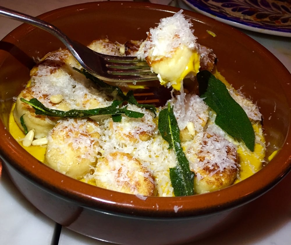 Ricotta Gnocchi with Kabocha squash brown butter Puree, pine nuts and sage.