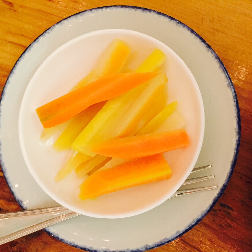 Perfectly pickled rainbow carrots.