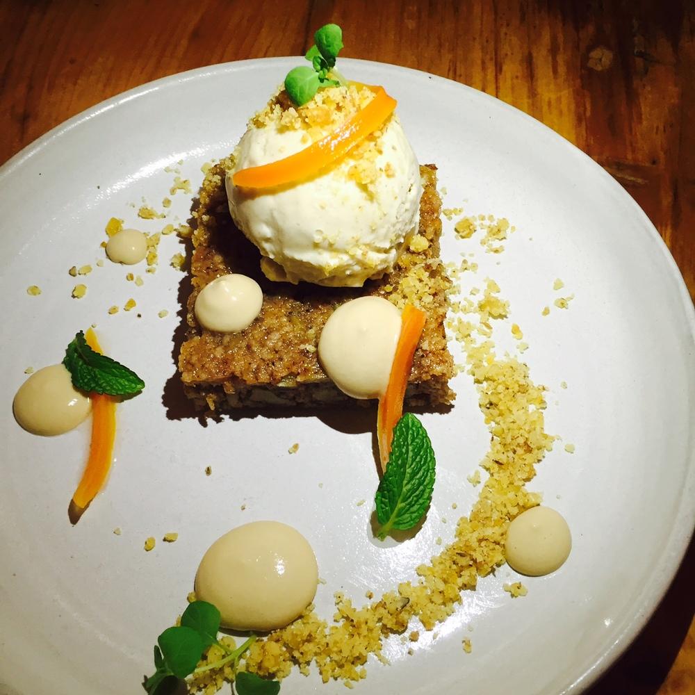 Karithopita , deconstructed carrot cake.