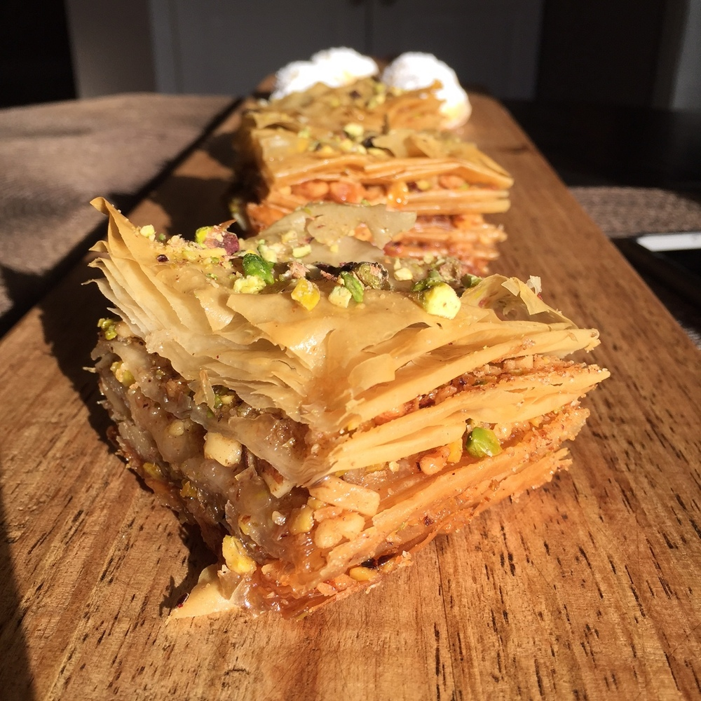 Irene makes the most stunning baklava with many layers of walnuts, pistachios, sugar syrup and orange blossom water.