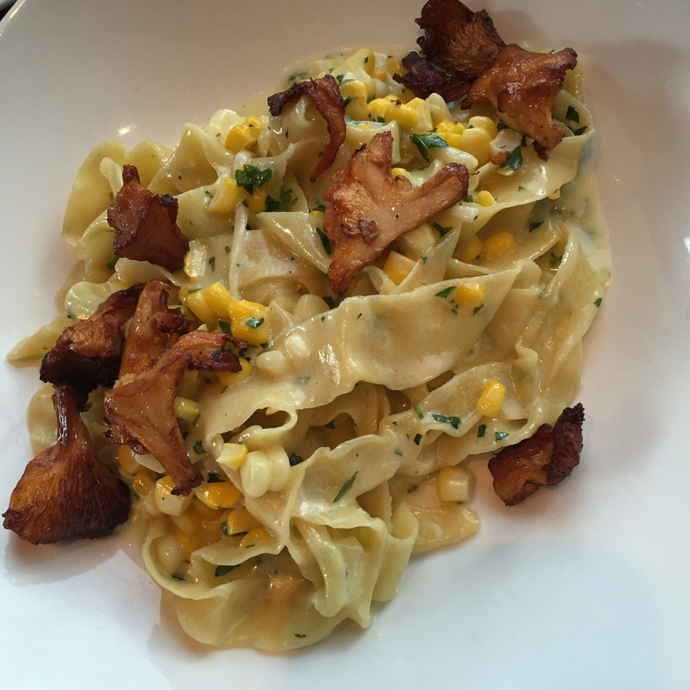Tagliatelle with Chanterelle, Corn and Beurre Fondu