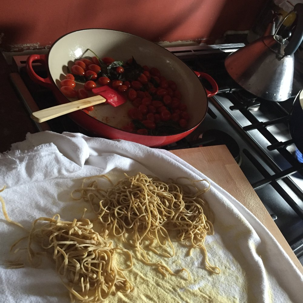 Cherry tomato alla chitarra in progress.