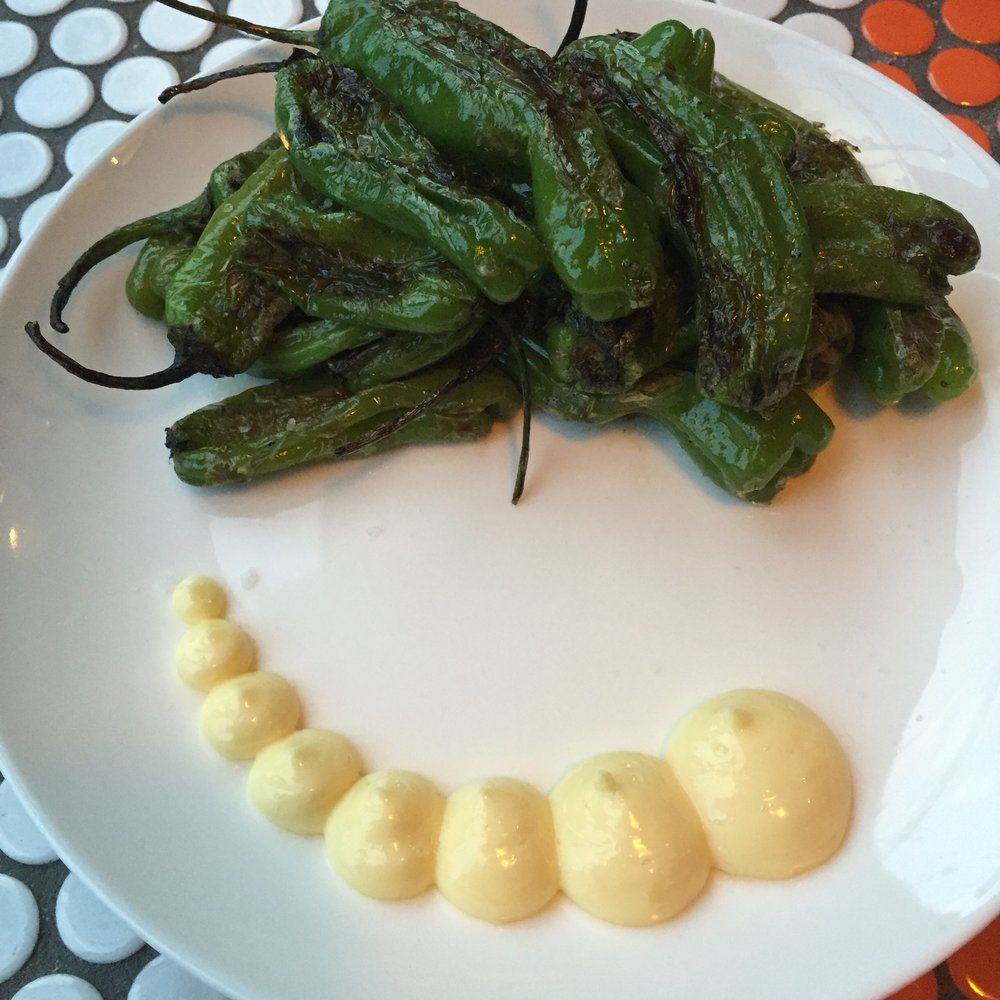Shishito peppers with lemon aioli