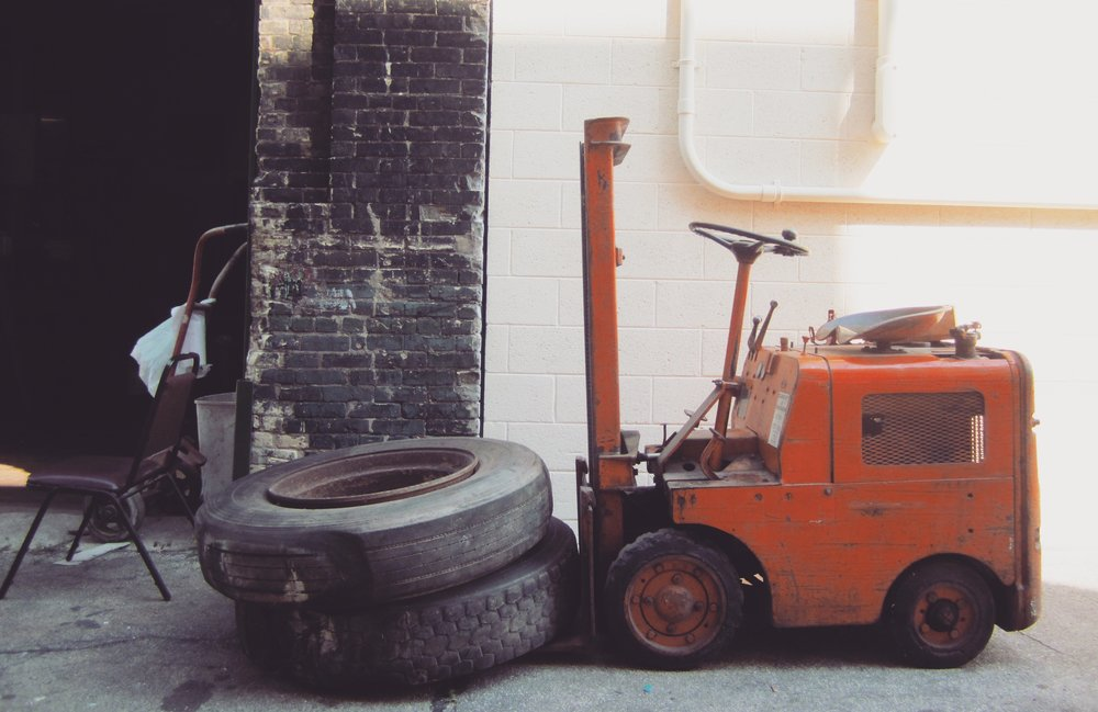 *This is Clementine, our old, small, orange forklift.  Don't worry, we have a new one.