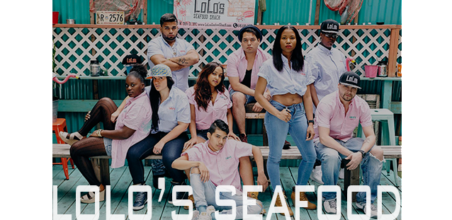 LOLO'S SEAFOOD SHACK  + SUGAR HILL CULTURE CLUB               COLLABORATED TO DESIGN NEW CREW UNIFORMS THAT CAPTURE                                                 LOLO'S PREPPY STREET STYLE                                                                                   Seersucker x SprayPaint