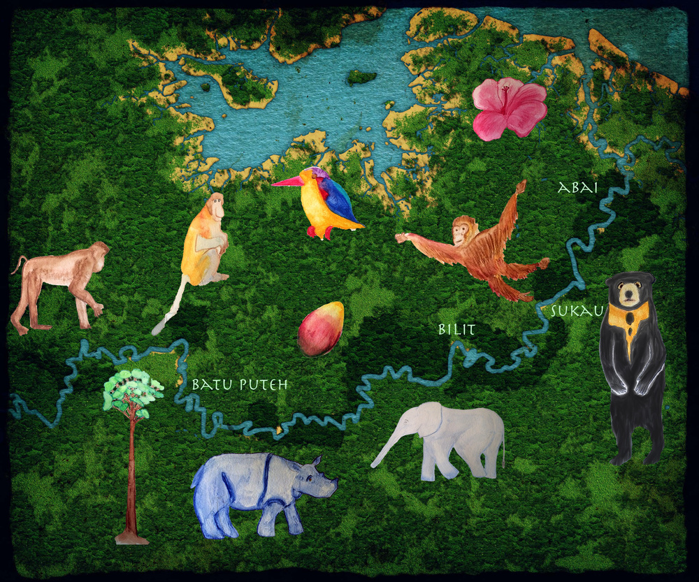 Background map drawn by Yue Li, Icons created by Rosemary Ostfeld