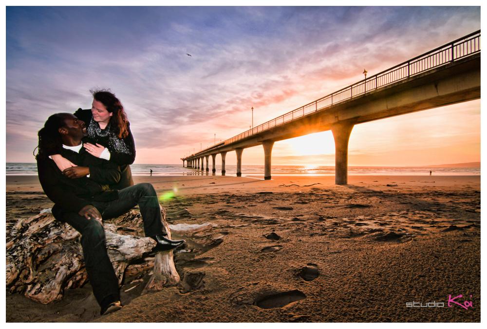 Beach engagement shot at New Brighton Beach Christchurch