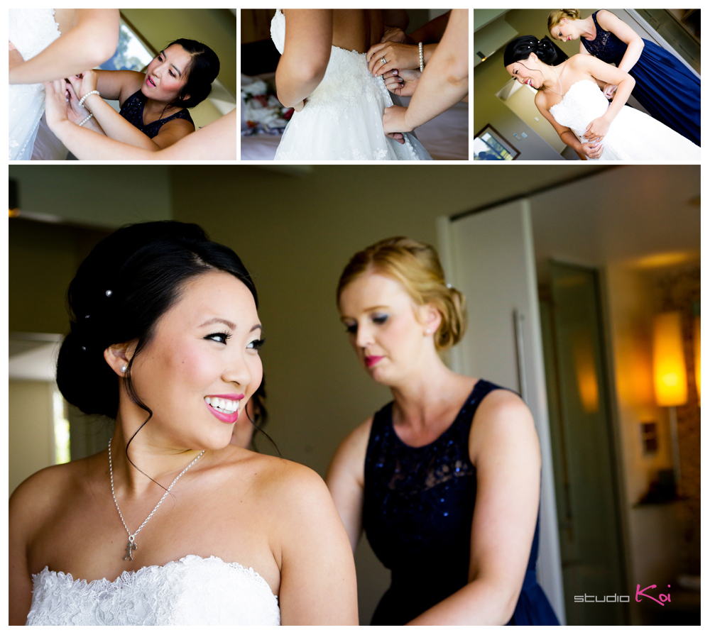 Bride and bridesmaids getting ready atPeppersClearwaterResortchristchurch