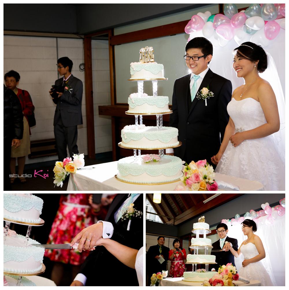 church wedding Christchurch cutting cake