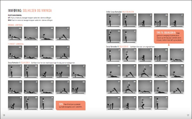 """I boken min """"YOGA - din vei til balanse, flyt og styrke"""" går jeg gjennom 60 grunnleggende yogastillinger og gir deg 10 vinyasa-sekvenser av variert lengde som kan gjøres hvor som helst."""