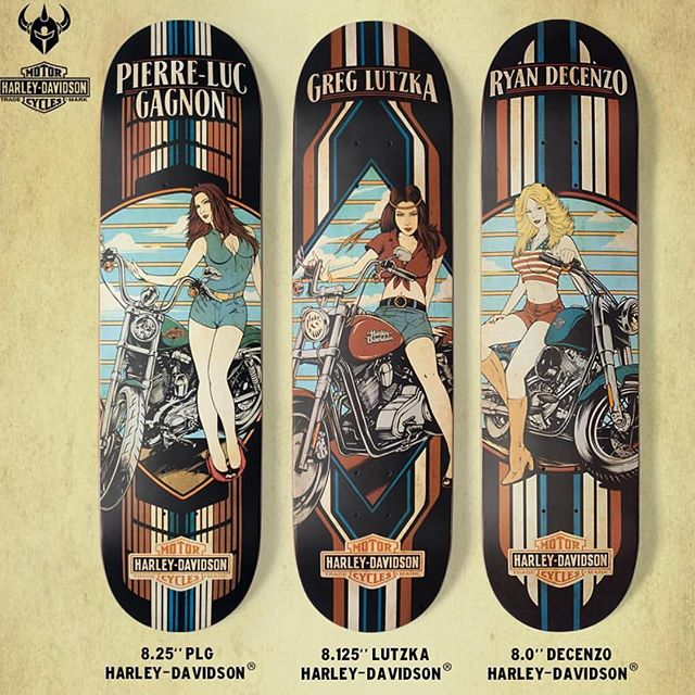 Just got the new @harleydavidson decks in from @darkstarskate today & these things are true collectors items. Limited quantities. 3 other less girlie graphics available as well.