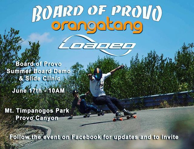 We will be doing an awesome longboard event  next Friday up Provo Canyon. It will be sponsored by @loadedboards @orangatangwheels & #bop. Pro team rider @rileywirvine will be there doing demos, riding & sliding tips for attendees. Giveaways & special pricing on product.