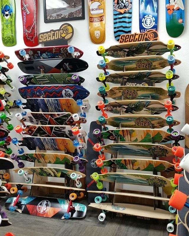 Swipe right to checkout some of the @sector9  goods that have arrived for your skating pleasures! Tons of great boards, wheels, gloves etc! The @louispilloni and @jimmyriha pro models are so rad! More downhill division lids as well! #sector9 #boardofprovo