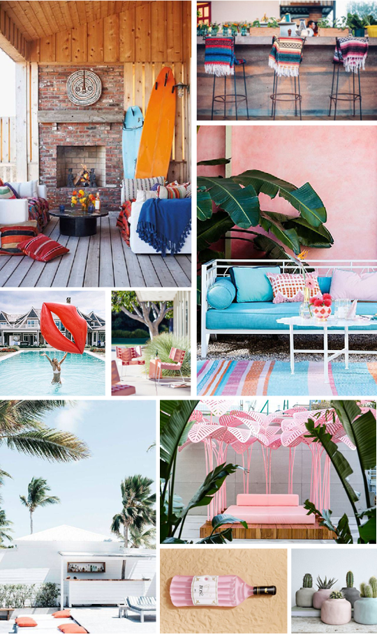 SOURCES:  Surfboards ,  Stools ,  Palms ,  Pink Chairs ,  Red Lips Pool Float ,  Pink Palms ,  White Patio ,  Rose Pool Float ,  Succulents