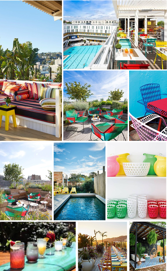 SOURCES:  Mama Shelter Los Angeles ,  La terrasse de Moliter ,  Rooftop Bar ,  Vibrant Outdoor Furniture ,  Jardin rooftop de la Piscine Molitor à Paris ,  Cocktails ,  Outdoor Entertaining ,  Yellow Poolside Chairs,   Painted Floor Tiles