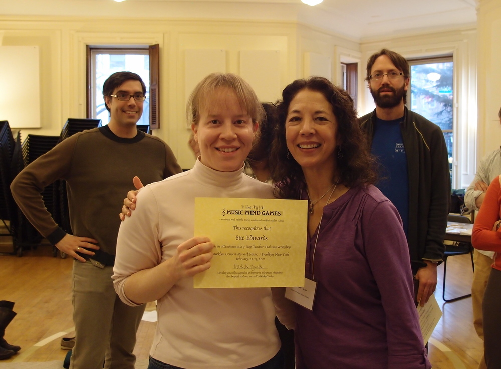 Receiving my certificate for Music Mind Games training with Michiko Yurko.