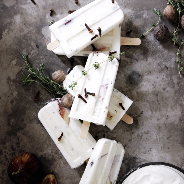 Fig Yogurt Pops with Honey, Thyme, Nutmeg, and Clove on the blog today! It's a winner, not gonna lie. #thecommoncook #ladyandlike
