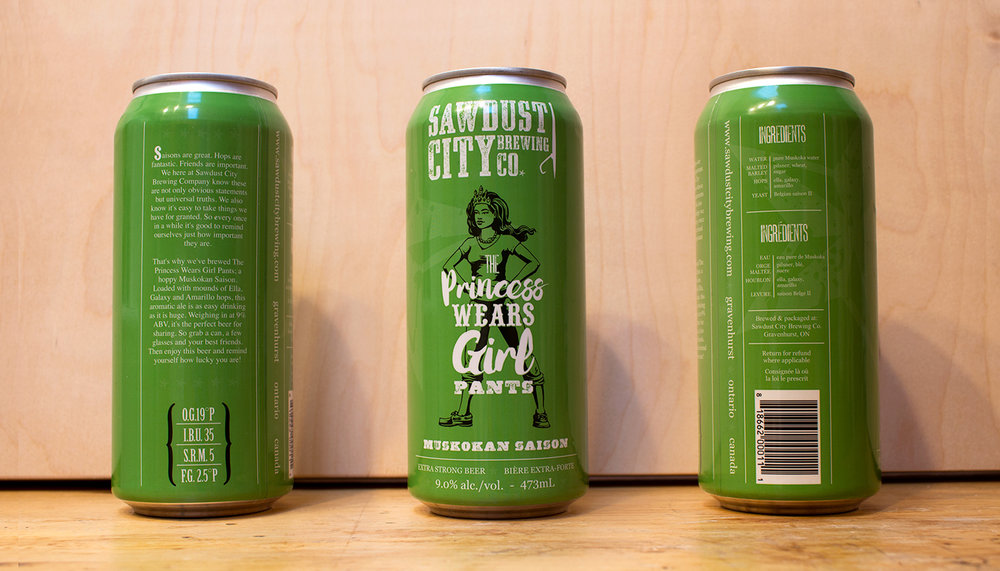 """Princess Wears Girl Pants"" Beer Can Design"