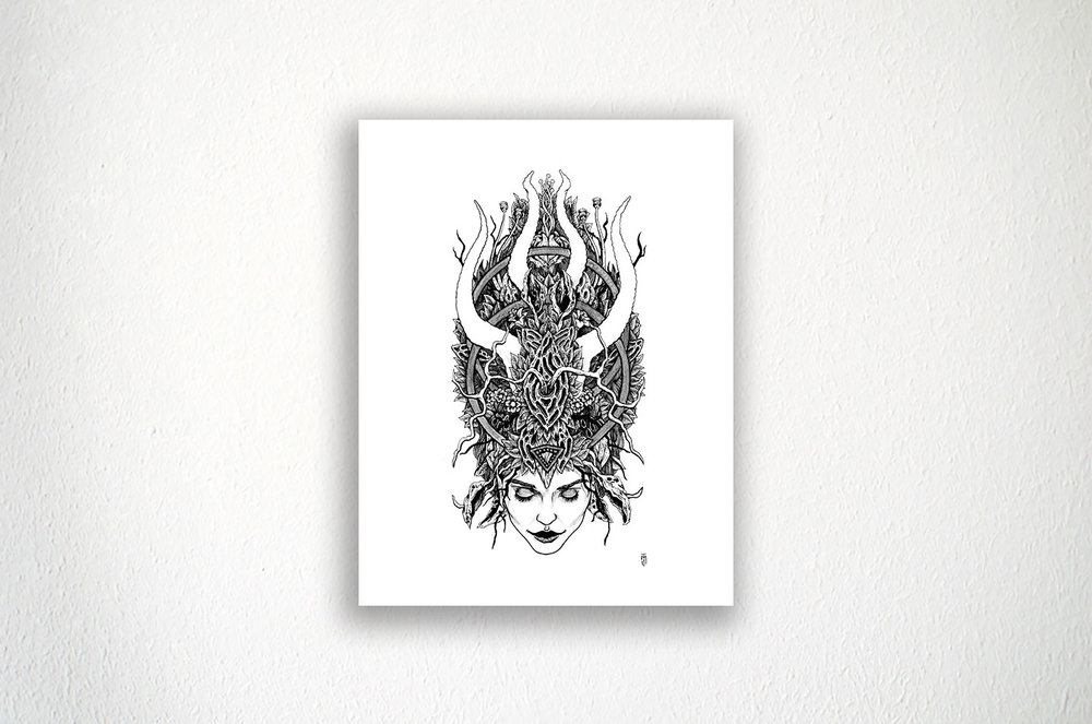 "Witches Crown - 8.5"" X 11"" - Ink on Paper"