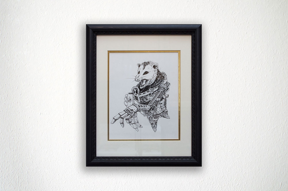 "Mech-Possum - 11"" X 15"" - Framed Ink on Paper"