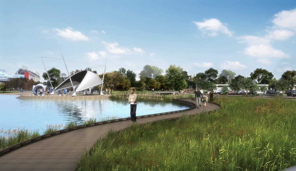 The plans include a new walking trail, a fully accessible playground, a pier for fishing, new bathrooms, lighting, and sculptures. The existing basketball courts will be renovated and a new futsal court will be added.