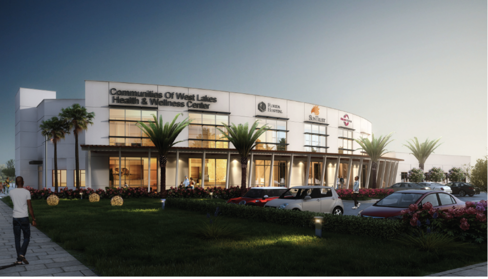 """This conceptual rendering was originally created by Baker Barrios for our partners at Orange Blossom Family Health to depict the Health & Wellness Center at a scale large enough to house the additional elements we are now describing as part of the """"HUB at West Lakes""""."""