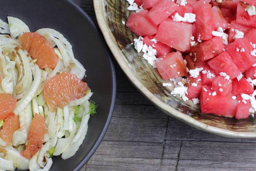 Et oui, il manque bien les olives dans la salade de pastèque, elles sont arrivées plus tard même si ça marche aussi sans ;)