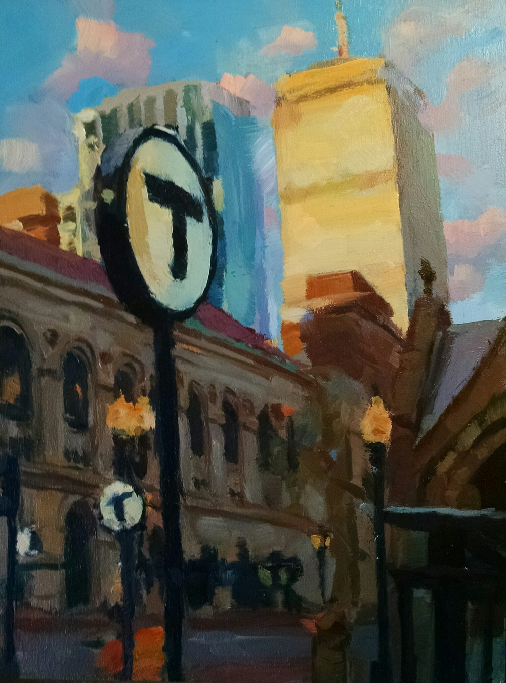 oil on wood Morning Light on Boylston