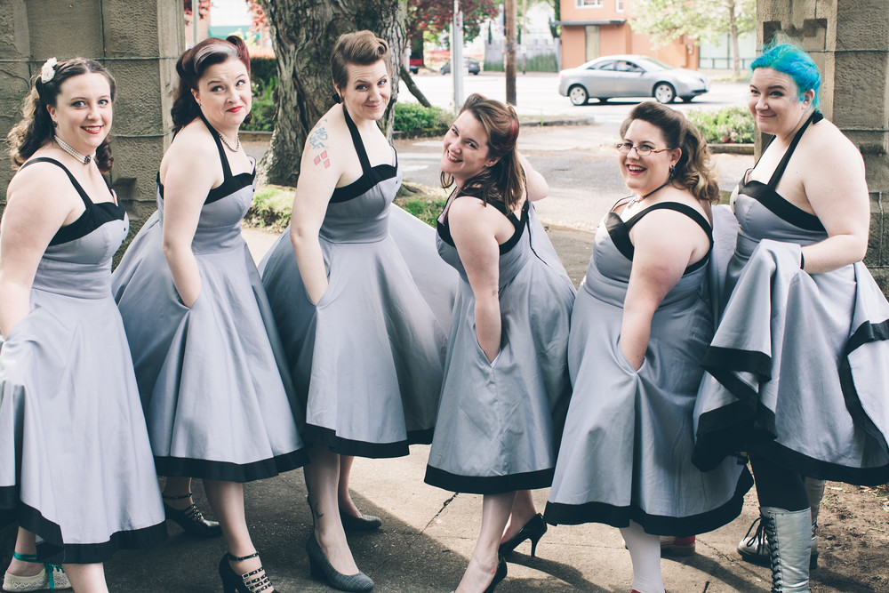 Kathryn and her bridal party  Photographer:   Myles Katherine Photography