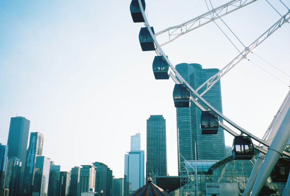 Navy Pier with an overpriced ferris wheel. A picture will suffice.