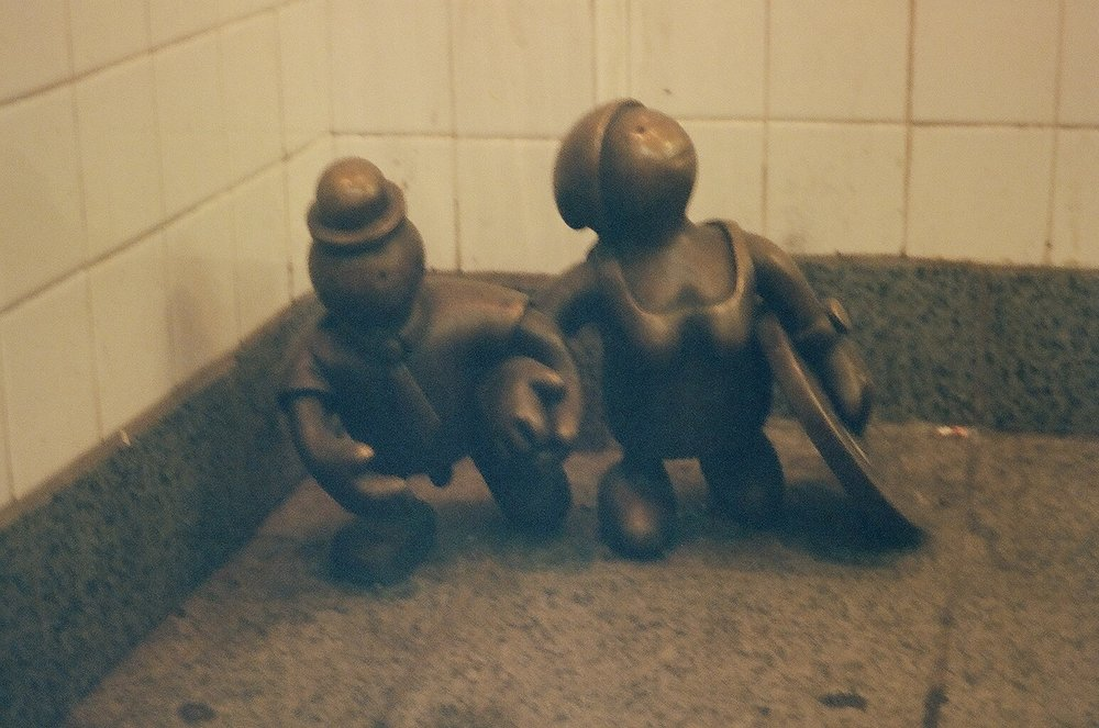 Don't lose your money on the subway.  Life Underground , Tom Otterness