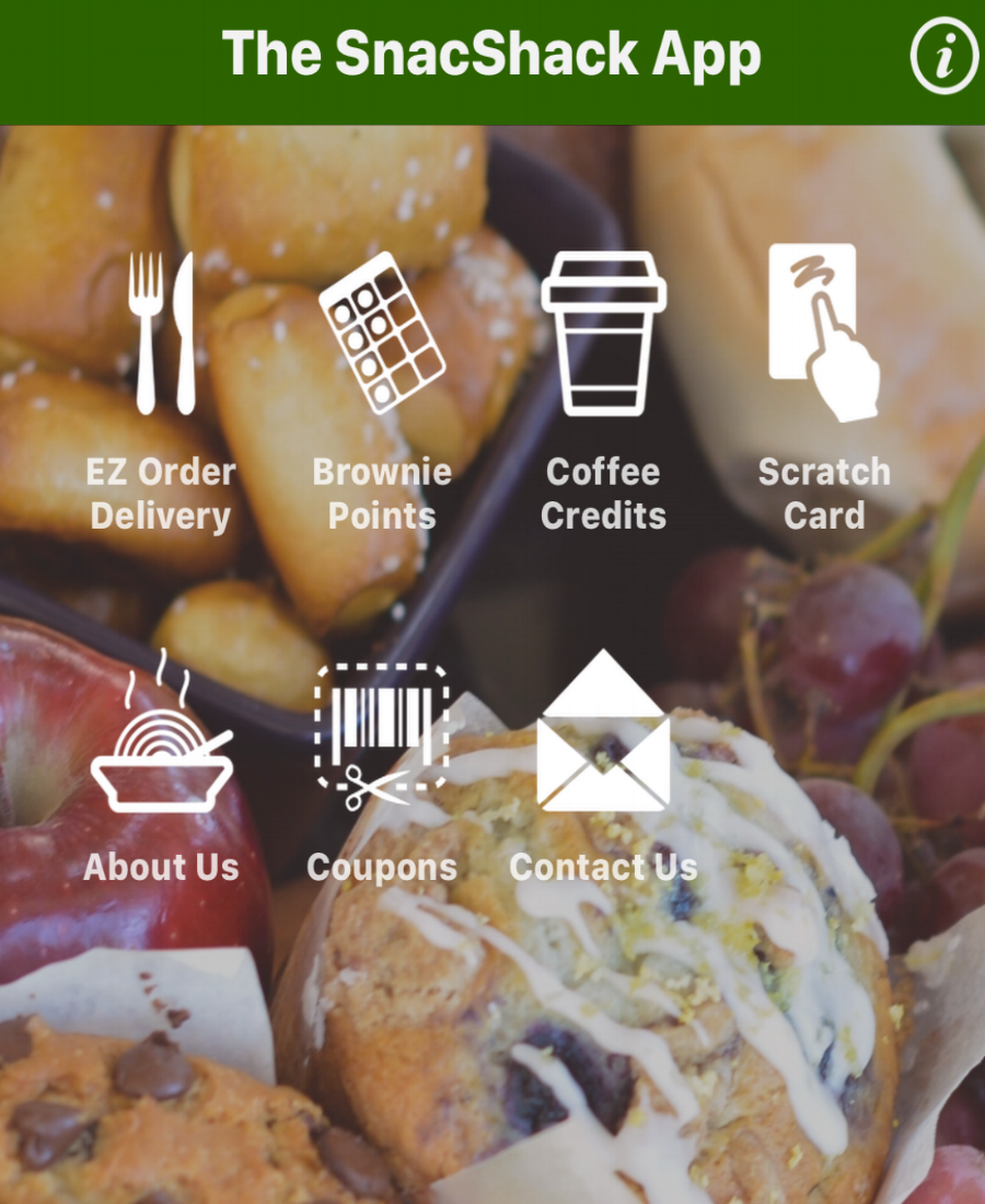 THE SNACSHACK APP    Download to place online delivery orders, earn loyalty points for FREE food and prizes, and enter into contests drawings.
