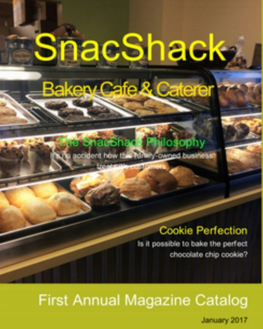 THE SNACSHACK MAGAZINE    Now you can view all SnacShack offerings in one comprehensive catalog. Complete with photos, descriptions, and articles for all of our homemade goodies. Download today for FREE!