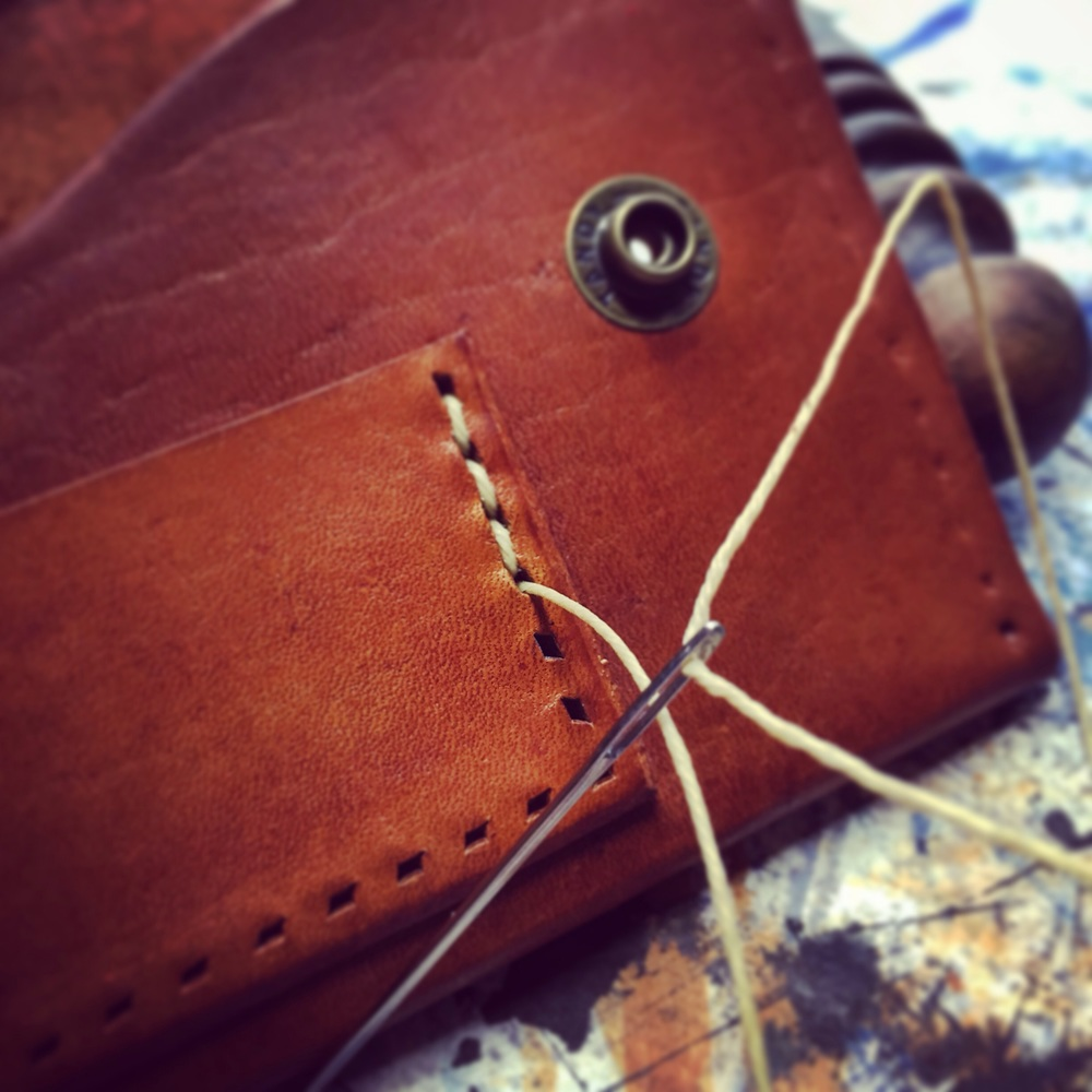 Completely hand stitched with strong waxed thread.