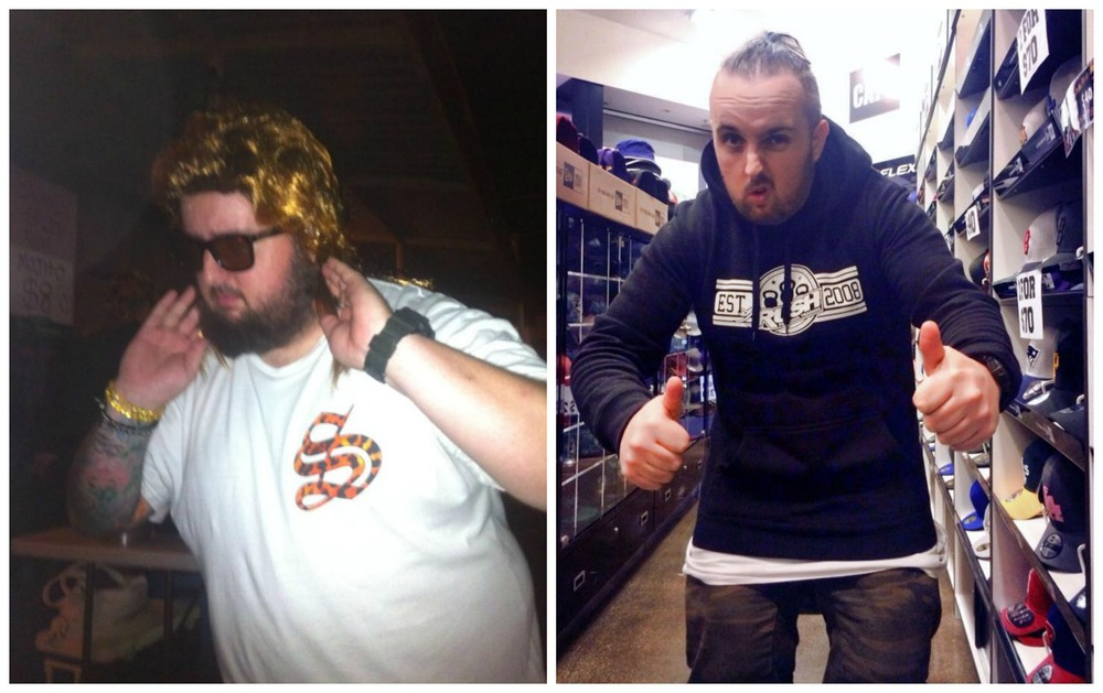 The left is me February 2013 in a XXL and the right is me last week in a L (Sept 2014)