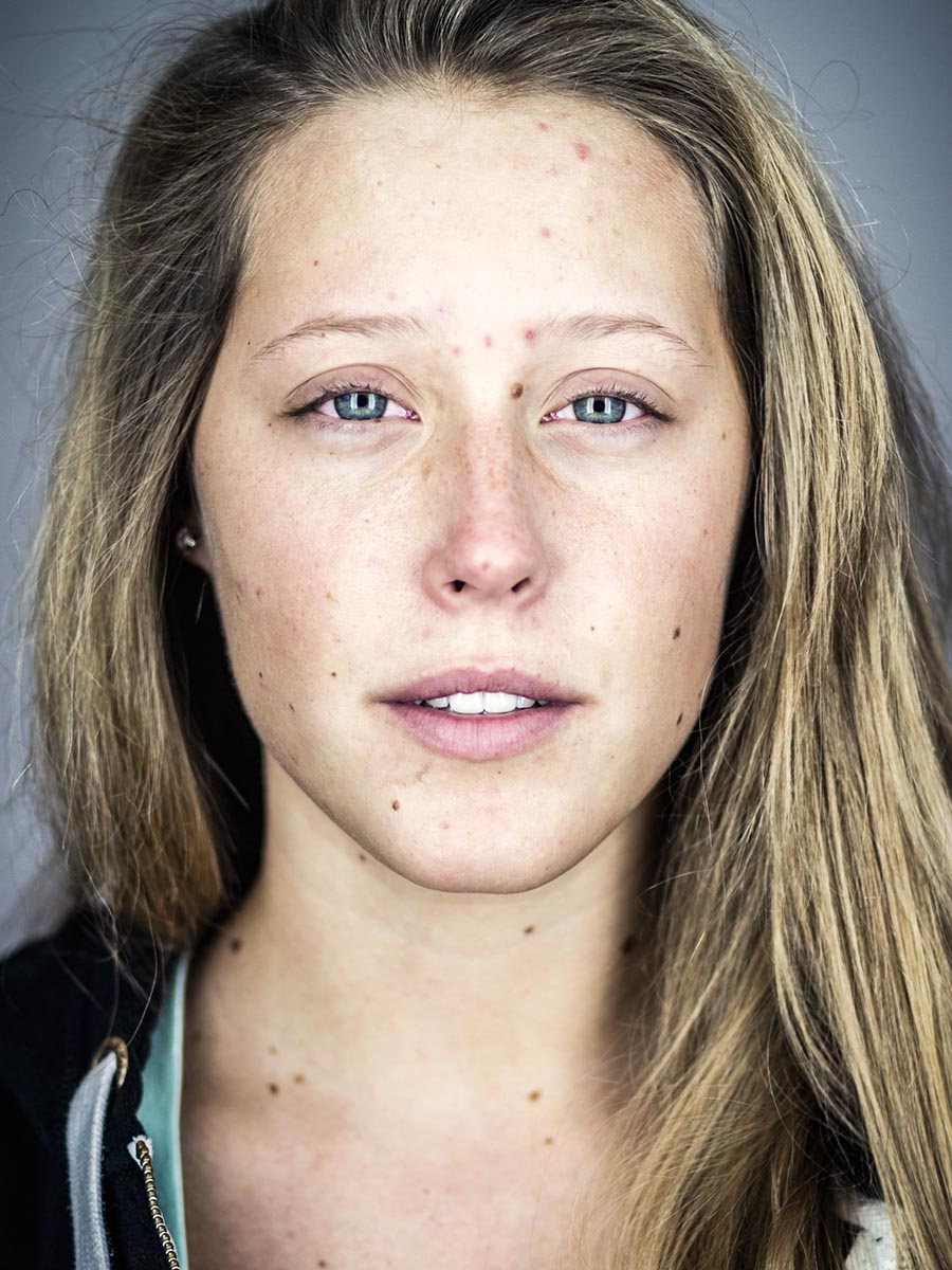 This series of Raw Portraits (Mugs) was created to show the raw beauty of humans. As people were coming in for headshots, I asked them to sit in front of the camera without having any makeup applied, without their hair being done. Then with simple post processing the texture was brought out and skin was slightly desaturated.