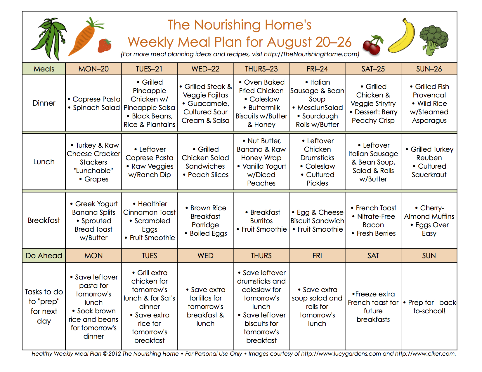 BiWeekly Meal Plan for August 20 September 2 the Better Mom – Sample Meal Planning
