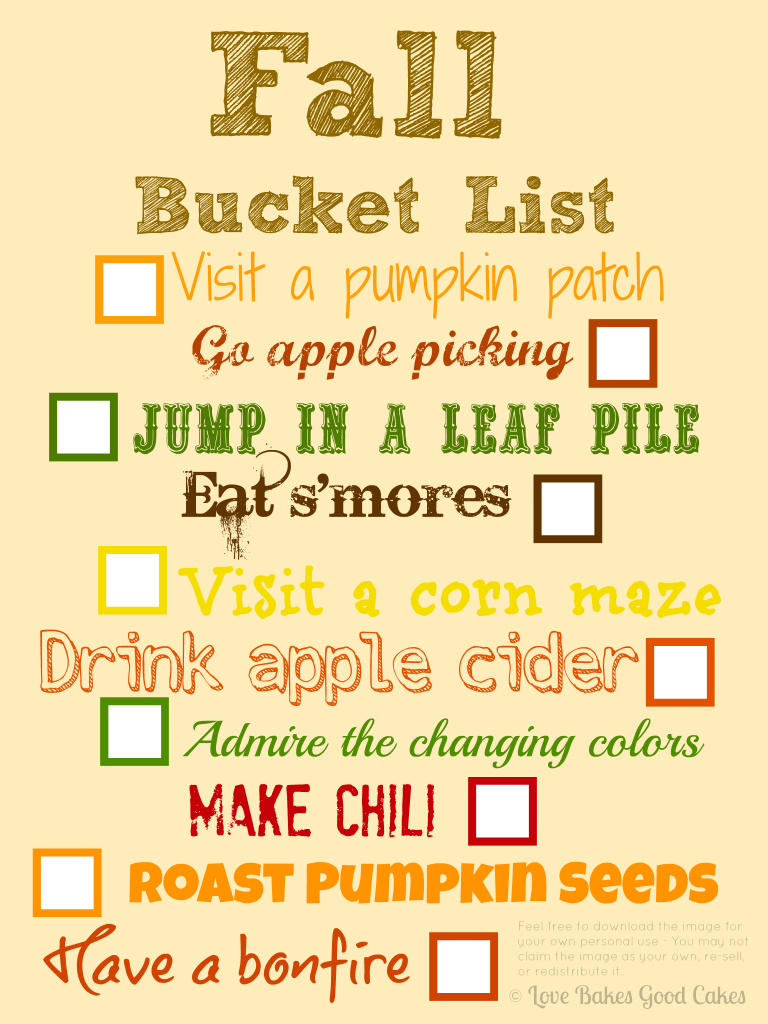 Fall Bucket List printable (8x10)