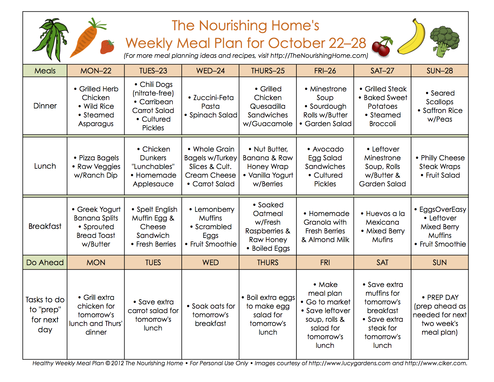 Bi Weekly Meal Plan For October 1528 The Better Mom