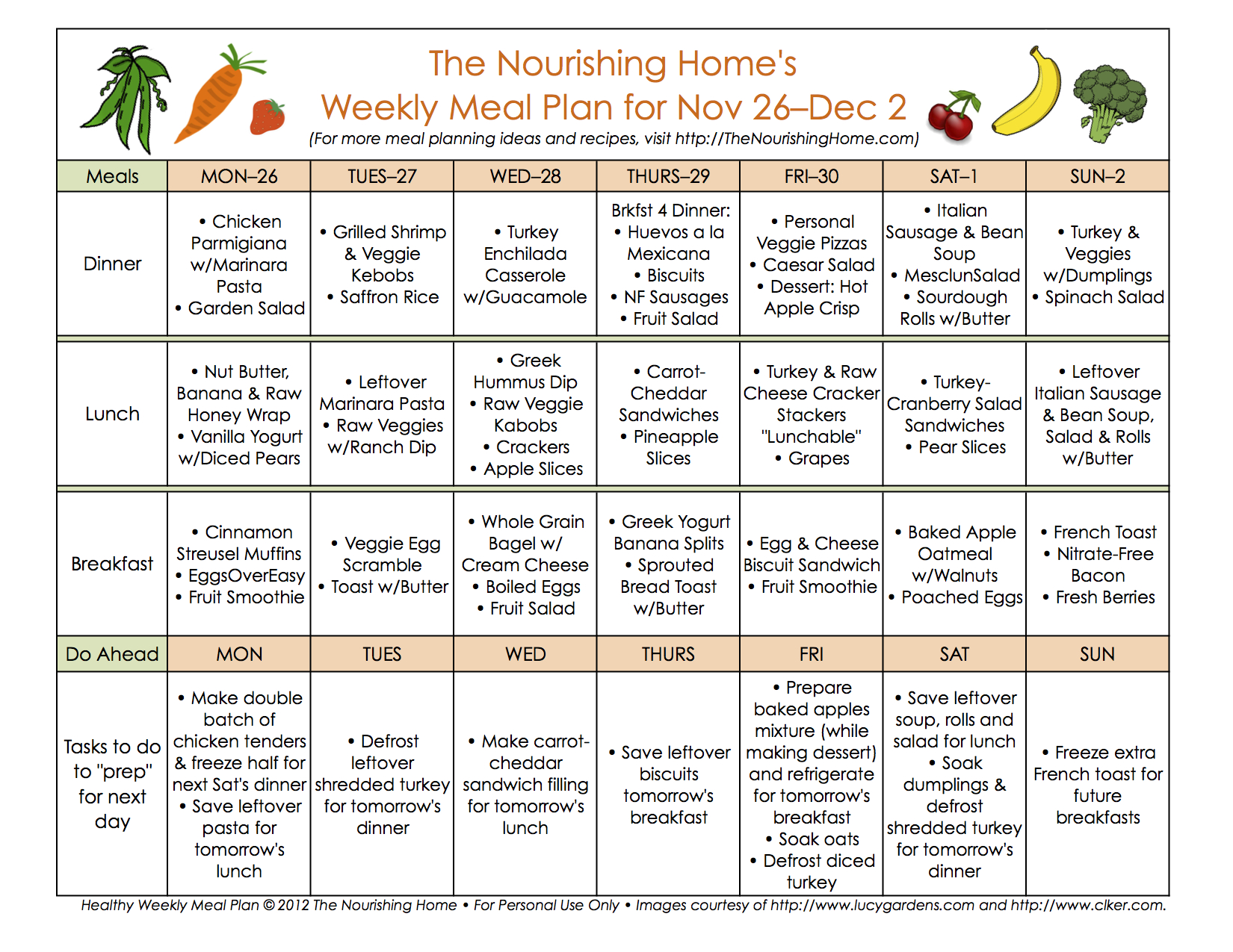 Bi-Weekly Meal Plan for November 26–December 9 — the ...