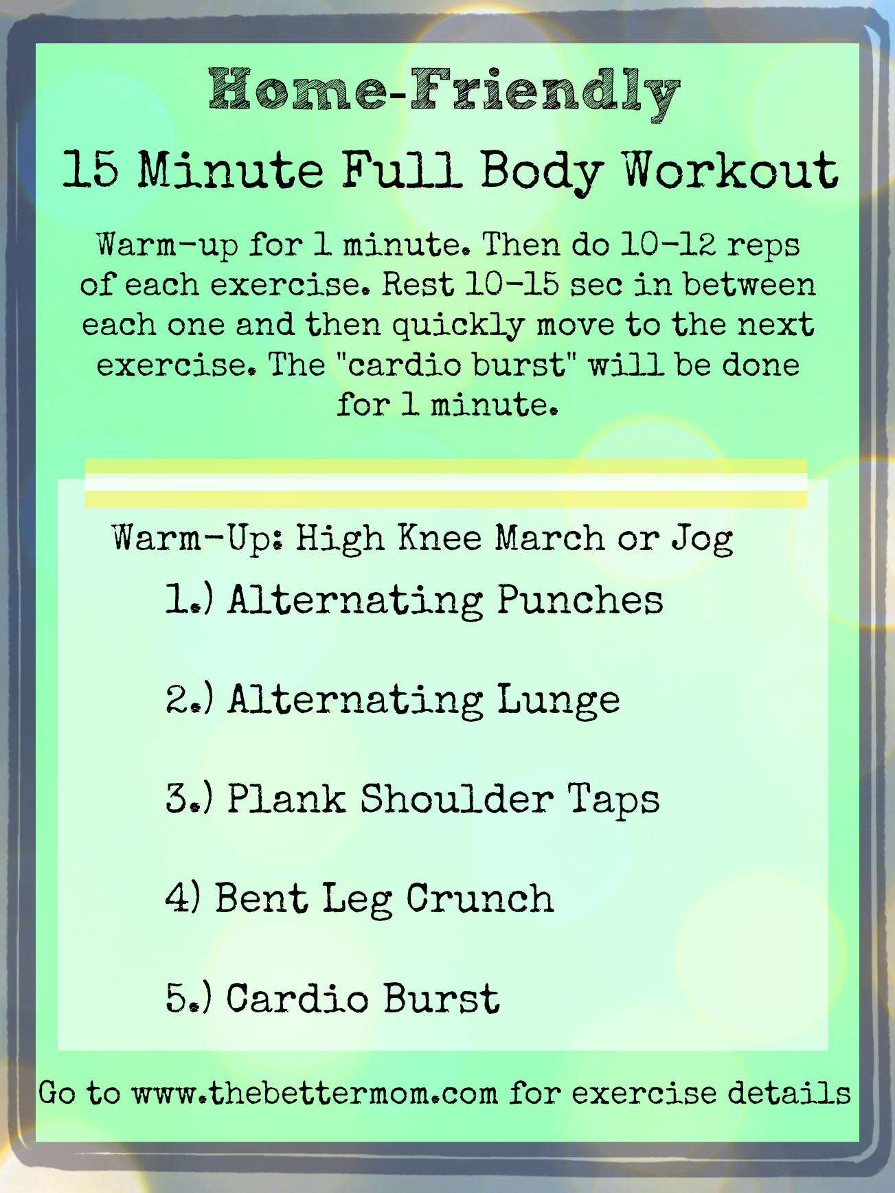 Home Friendly 15 Minute Full Body Workout
